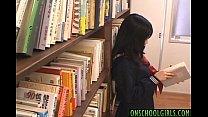 Saya Misaki arouses crack with vibrator under skirt at library