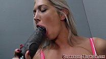 Big tit blonde sucks cock