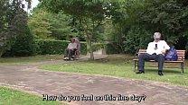 Subtitled bizarre Japanese half naked caregiver outdoors preview image