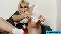 Cute blondie Ruth bare feet show and footjob pornhub video