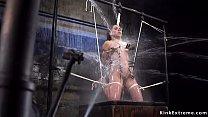 Hogtied brunette slut gets water bondage