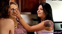 Sweet lesbian teen squirting in threesome
