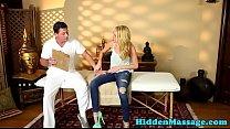 Cocksucking massage babe filmed on spycam Thumbnail