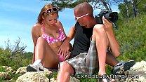 www.EXPOSEDLATINAS.com - Beautiful brunette Spanish girl fucked on the beach this beautul latina enjoys cock Vorschaubild
