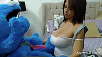 Pregnant ebony plays with Cookie Monster - Adul...