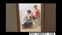 Hot teen couple fucking at bathroom