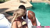 Sweety Kami Kari Gets Ebony Cock By The Pool