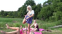 Outdoors, Public Fitness in Shortest Skirts on a windy day, outside, with many upskirts and asses exhibitions