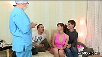 Doctor assists with hymen physical and losing virginity of virgin girl