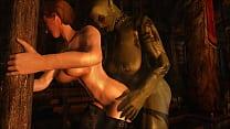 Skyrim Futa - Orc Fucks a Warmaiden porn thumbnail