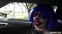Teen Mikayla the clown shows stranger her pierced nipples