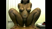 big booty ebony rides her dildo