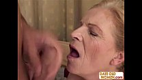 Blonde old grandma gets facial />