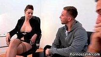 Horny office girl Karina is rubbing porn thumbnail