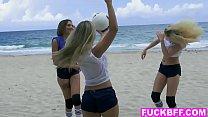 Volleyballin teen best friends share a very big dick