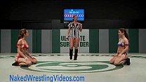 Hot lesbians wrestling and banging