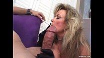 Sexy blonde mature smokes and sucks cock thumbnail