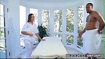Hot masseuse fucks her black stepdad