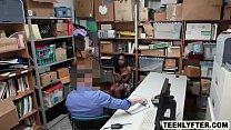 Ebony teen shoplifter fucked hard by sleazy cop