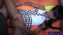 Ladyboy schoolgirl teen hottie bareback anal fucked preview image