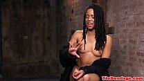 Ebony tied bdsm sub fingered and whipped