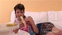 She loves teasing by masturbating with a banana