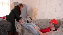Redhead latex mistress Zara Durose dominates submissive tiler in BDSM porn GP428