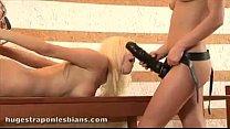 blonde teen rides anal strapon