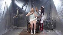 Ebony nurse anal fucks strapped patient thumb
