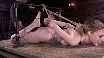 Hogtied blonde slave gets pussy fingered