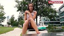 LETSDOEIT - Petite Brunette Teen Cums Hard At Casting