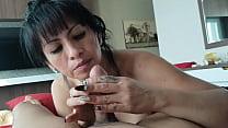 Mature girlfriend sucks cock of her young boyfr... Thumbnail