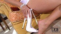 Eva Parcker Tempts In A Skimpy White Teddy & 7-...