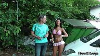 German Huge Tit Teen Fuck with older Stranger Outdoor