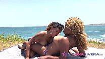 Nina Rivera and Porsha Carrera on a tropical is...