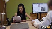 Vip4K. Skinny Brunette Passes Real Sex Casting At Loan Agency