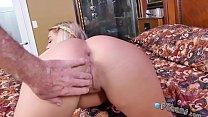 Blonde hottie with nice ass sucks cock