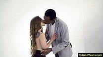 Old black guy screw teen skinny girl