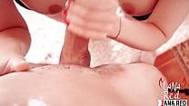 Lesbians Double Blowjob Big Cock and Cumshot on Huge Tits POV صورة