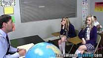 Teens facialized by teach