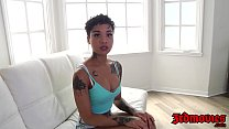 Stunning ebony Honey Gold bouncing on a huge cock in POV preview image
