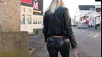 Woman Gets cumshot in leggings and walk in public
