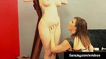 9359 Goddess Sara Jay Punishes Red head Slave Lauren Phillips! preview