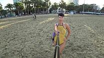 One piece mesh transparent swimsuit in public beach thumbnail