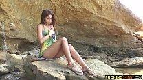 Mega hot skinny teen masturbating on the beach