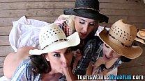 Teen cowgirls ride cock