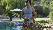 Chocolate beauty riding pool guys dick pornhub video