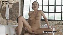 Deep anal with beautiful busty brunette girlfriend