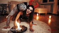 Horny Devil fucked skeleton. Halloween with Mia Bandini video