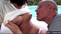 Coco Demal sucking a grandpa in the garden befo... Thumbnail